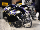 Steelers Ravens Football: Baltimore, MD - Baltimore Ravens Helmets Photo by Nick Wass