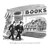 """""""By God, this year on my vacation I'm going to read a book!"""" - New Yorker Cartoon Premium Giclee Print by Barney Tobey"""