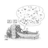 "Man singing 'That's a...' to ""Plenty"" marquee. - New Yorker Cartoon Premium Giclee Print by Warren Miller"