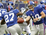 Seahawks Giants Football: East Rutherford, NEW JERSEY - Eli Manning and Brandon Jacobs Photographic Print by Bill Kostroun