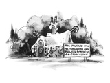 Sign in front of gingerbread house: THIS STRUCTURE WILL BE TORN DOWN AND R… - New Yorker Cartoon Premium Giclee Print by Lee Lorenz