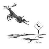 A leaping deer with a deer-crossing sign that shows a silhouette of a deer… - New Yorker Cartoon Premium Giclee Print by Eldon Dedini