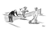 Butler is holding down the tennis net for his master to jump over. - New Yorker Cartoon Premium Giclee Print by Eldon Dedini