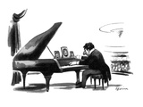 A pianist in concert has desk-type photographs of his family on the grand … - New Yorker Cartoon Premium Giclee Print by Eldon Dedini