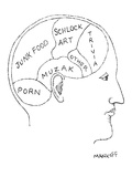 Cross section of a man's head divides contents of brain into JUNK FOOD, MU… - New Yorker Cartoon Premium Giclee Print by Robert Mankoff