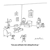 """""""Can you call back—he's doing his sit-up."""" - Cartoon Premium Giclee Print by Michael Maslin"""