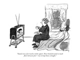 """""""Stand erect, feet twelve inches apart. Now bend forward to touch floor be…"""" - New Yorker Cartoon Premium Giclee Print by Barney Tobey"""
