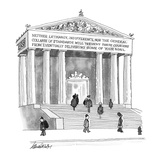 Inscription on Post Office reads, Neither lethargy, indifference, nor the … - New Yorker Cartoon Premium Giclee Print by J.B. Handelsman