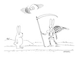 A rabbit walking upright down a road sees death as a rabbit skeleton with … - New Yorker Cartoon Premium Giclee Print by Saul Steinberg