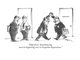 """High fives!  Something big must be happening over in Corporate Acquisitio…"" - New Yorker Cartoon Premium Giclee Print by Lee Lorenz"