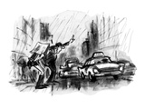 Rain-soaked couple trying to hail cab that has a sign that reads, 'Fat Cha… - New Yorker Cartoon Premium Giclee Print by Lee Lorenz