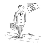 Executive walks past a falling sign on the wall that says; 'Think Zero Def… - Cartoon Premium Giclee Print by Aaron Bacall