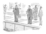 Lawyer waiting for train has a sign on his briefcase that says, 'Need a La… - Cartoon Premium Giclee Print by Danny Shanahan