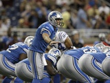 Colts Lions Football: Detroit, MI - Matthew Stafford Photographic Print by Paul Sancya