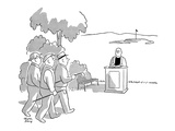 Golfers approaching tee come upon a minister at his pulpit. - New Yorker Cartoon Premium Giclee Print by Chon Day