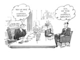 Two men sit in an office, one thinking, 'Then we have an unspoken agreemen… - New Yorker Cartoon Premium Giclee Print by Dana Fradon