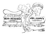 Two roadside stands have provocative signs--BEN & MURIEL'S HOT DOGS - New Yorker Cartoon Premium Giclee Print by Mischa Richter