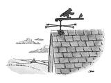 Weathervane is designed to show man running after hat. - New Yorker Cartoon Premium Giclee Print by John Jonik