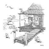 "Couple on porch of LAUGHING GULL COTTAGE are surrounded by birds emitting …"" - New Yorker Cartoon Premium Giclee Print by George Booth"