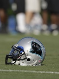 Panthers Camp Football: Spartanburg, SOUTH CAROLINA - A Carolina Panthers Helmet Photo by Chuck Burton