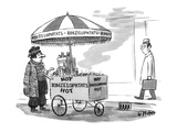A street vendor is selling 'Hot Rinzelophtats'; he's wearing exotic foreig… - New Yorker Cartoon Premium Giclee Print by Warren Miller