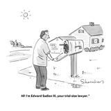 """Hi! I'm Edward Sadlon III, your trial-size lawyer."" - Cartoon Premium Giclee Print by Danny Shanahan"