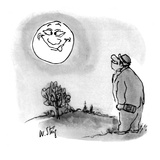 Drunken tramp smiles at moon, upon which is a cross- eyed face sticking ou… - New Yorker Cartoon Premium Giclee Print by William Steig