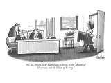 """""""No, no, Miss Clark! I asked you to bring in the Mantle of Greatness, not …"""" - New Yorker Cartoon Premium Giclee Print by Dana Fradon"""