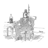 Ahab, from Moby Dick sitting at bar table drinking from bottle labeled, 'W… - Cartoon Premium Giclee Print by Jack Ziegler