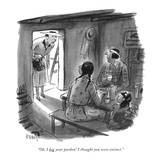 """""""Oh, I beg your pardon! I thought you were extinct."""" - New Yorker Cartoon Premium Giclee Print by Barney Tobey"""