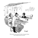 """""""Do you fly to any countries where the moral climate hasn't hopelessly det…"""" - New Yorker Cartoon Premium Giclee Print by Frank Modell"""