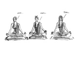 Three women sitting in yoga position with legs crossed. The first two are … - Cartoon Premium Giclee Print by Marisa Acocella Marchetto