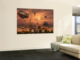 A Futuristic Military Outpost on the Moon of a Distant Alien World Wall Mural by Stocktrek Images
