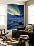 Aurora Borealis over Mikkelfjellet Mountain in Troms County, Norway Wall Mural by  Stocktrek Images