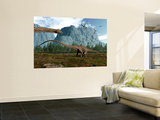 Diplodocus Dinosaurs Graze While Pterodactyls Fly Overhead Wall Mural by Stocktrek Images 