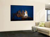 Night View of Space Shuttle Atlantis on the Launch Pad at Kennedy Space Center, Florida Wall Mural by  Stocktrek Images