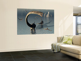 Omeisaurus Sauropod Dinosaurs Cooling Off in the Jurassic Waters of What Is Now China. Wall Mural by  Stocktrek Images