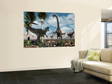 A Carnivorous Allosaurus Confronts a Giant Diplodocus Herbivore During the Jurassic Period on Earth Wall Mural by  Stocktrek Images