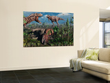 Two T. Rex Dinosaurs Confront Each Other over a Dead Triceratops Wall Mural by  Stocktrek Images