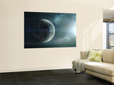 Fleet of Colonization Ships Departing an Earth-Like Planet Premium Wall Mural by  Stocktrek Images