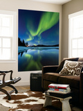 Aurora Borealis over Sandvannet Lake in Troms County, Norway Premium Wall Mural by  Stocktrek Images