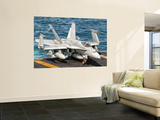 A Us Navy F/A-18C Hornet Tied on the Flight Deck of Uss Nimitz Wall Mural by Stocktrek Images