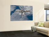 International Space Station Backgropped by a Blue and White Earth Wall Mural by  Stocktrek Images