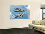A Brazilian Air Force Embraer A-1B, French Air Force Rafale, and US Air Force F-16C Fighting Falcon Wall Mural by  Stocktrek Images