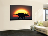 A Silhouetted Triceratops Strolling Past a Setting Sun at the End of a Prehistoric Day Wall Mural by  Stocktrek Images