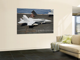 An F/A-18C Hornet Sits Ready on the Flight Deck of Uss Harry S. Truman Wall Mural by  Stocktrek Images
