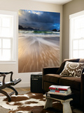 Waves Washing Back to Sea on Haukland Beach, Lofoten, Norway Wall Mural by  Stocktrek Images