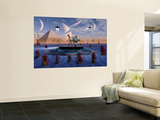 A Grey Alien Visits the Site of Three Pyramids on an Alien World Wall Mural by  Stocktrek Images