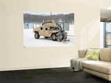 U.S. Soldiers Take Cover Behind a Humvee During Combat Support Training Exercises Wall Mural by  Stocktrek Images