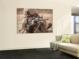 A Squad Automatic Weapon Gunner Provides Security Wall Mural by Stocktrek Images